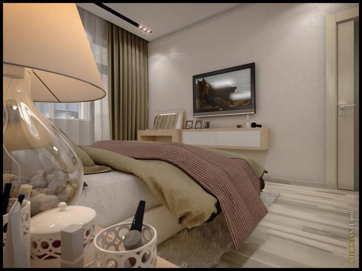 Дизайн проект от RichmanStudio для молодой семьи из Москвы : Спальни в . Автор – RichmanStudio