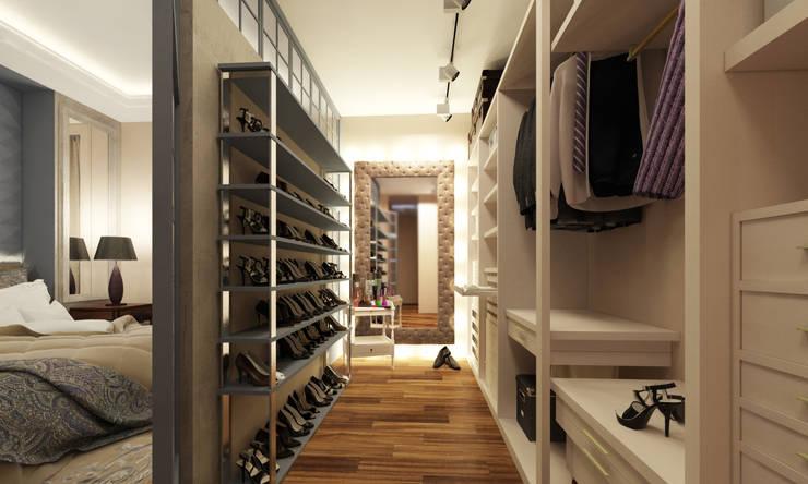 KOSHKA INTERIORS: eklektik tarz tarz Giyinme Odası