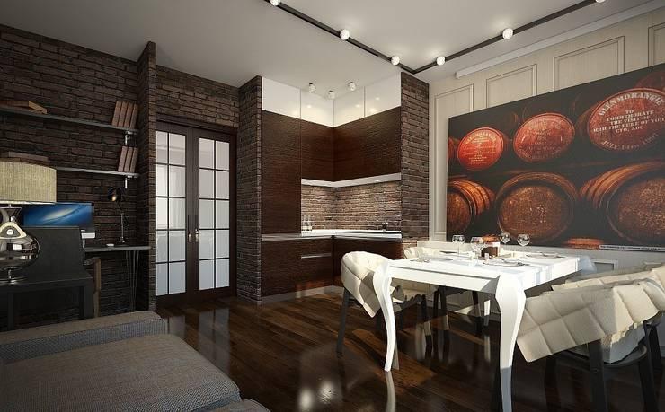 Квартира для пары с детьми: Столовые комнаты в . Автор – Дизайн-бюро Анны Шаркуновой 'East-West'
