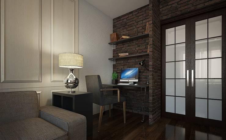 Квартира для семейной пары с детьми: Рабочие кабинеты в . Автор – Дизайн-бюро Анны Шаркуновой 'East-West'