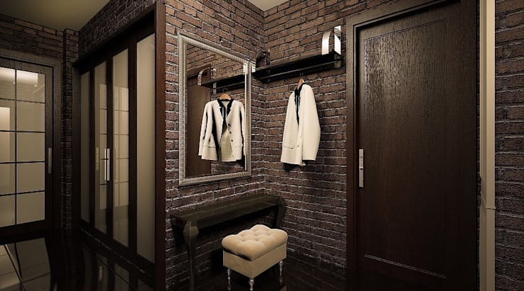Квартира для пары с детьми: Коридор и прихожая в . Автор – Дизайн-бюро Анны Шаркуновой 'East-West'
