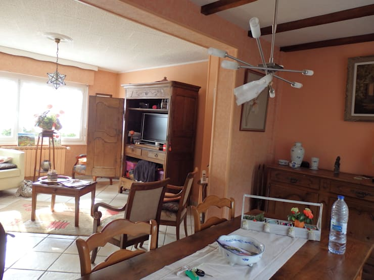 le salon, salle à manger avant:  de style  par Emilie Bigorne, architecte d'intérieur CFAI