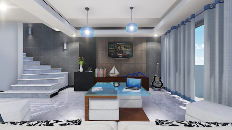 Villas las Iguanas. Villa 44. : Salas de estilo  por TisR Estudio
