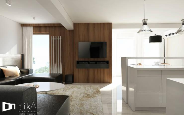 Wnętrze apartamentu, Kęty: styl , w kategorii Salon zaprojektowany przez TIKA