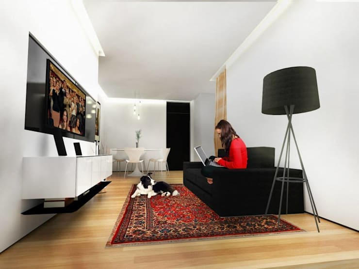 Sala de estar: Salas de estar minimalistas por Paula Werneck Arquitetura