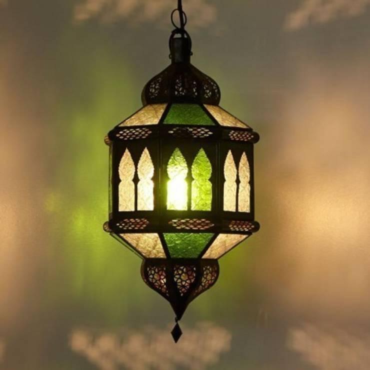 Lampa z Maroko TROMBIA BIBAN biało-zielona: styl , w kategorii Miejsca na imprezy zaprojektowany przez DomRustykalny.pl