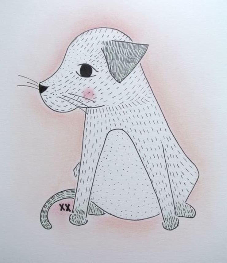 handmade illustratie hondje kinderkamervintage:   door Kinderkamervintage, Scandinavisch