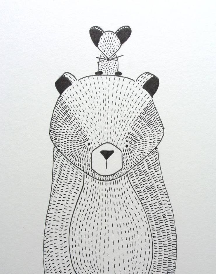 handmade illustratie beer kinderkamervintage:   door Kinderkamervintage, Scandinavisch