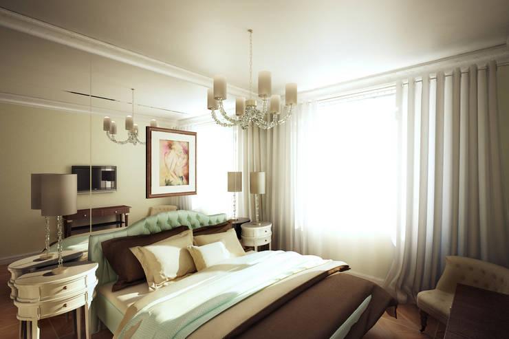 Четырехкомнатная квартира в Москве: Спальни в . Автор – Анастасия Муравьева