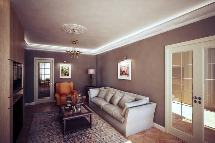 Четырехкомнатная квартира в Москве: Гостиная в . Автор – Анастасия Муравьева