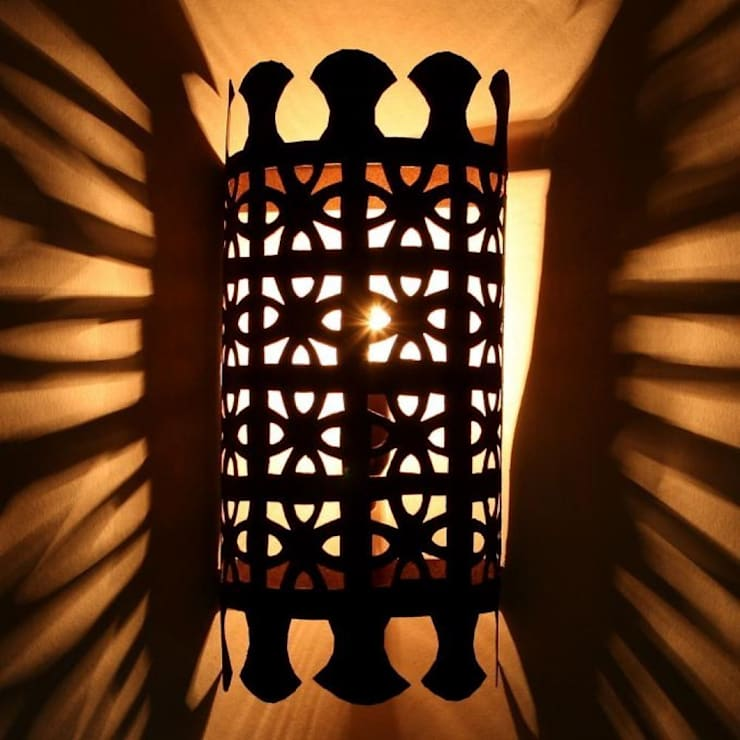 Orientalna żelazna lampa ścienna EWL37: styl , w kategorii Miejsca na imprezy zaprojektowany przez DomRustykalny.pl,Rustykalny