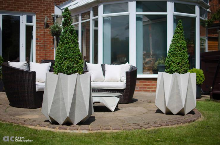 Kronen 65 Flower Pot in Warm Grey Concrete:  Garden  by Adam Christopher Design