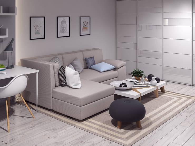 маленькая белоснежная комната: Гостиная в . Автор –  Nataly Liventsova