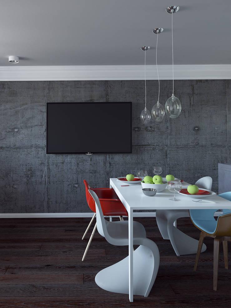 Квартира студия с бетонной стеной и яркими красными объектами: Кухни в . Автор –  Nataly Liventsova, Эклектичный