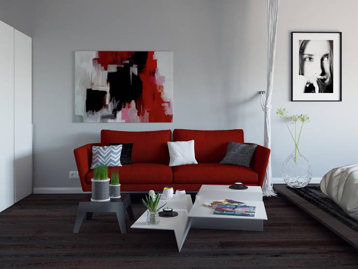 Квартира студия с бетонной стеной и яркими красными объектами: Гостиная в . Автор –  Nataly Liventsova, Эклектичный