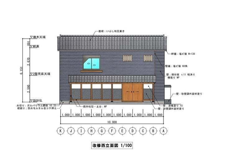 西立面図(West elevation): きど建築設計事務所(Kido Architectural Design Office)が手掛けたカントリーです。,カントリー