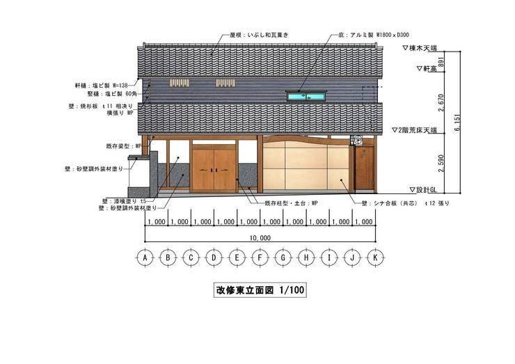 東立面図(East elevation): きど建築設計事務所(Kido Architectural Design Office)が手掛けたカントリーです。,カントリー
