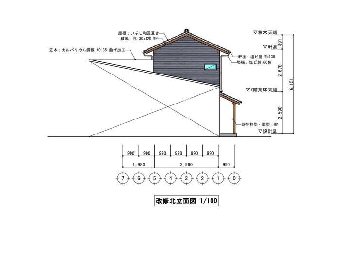 北立面図(North elevation): きど建築設計事務所(Kido Architectural Design Office)が手掛けたカントリーです。,カントリー
