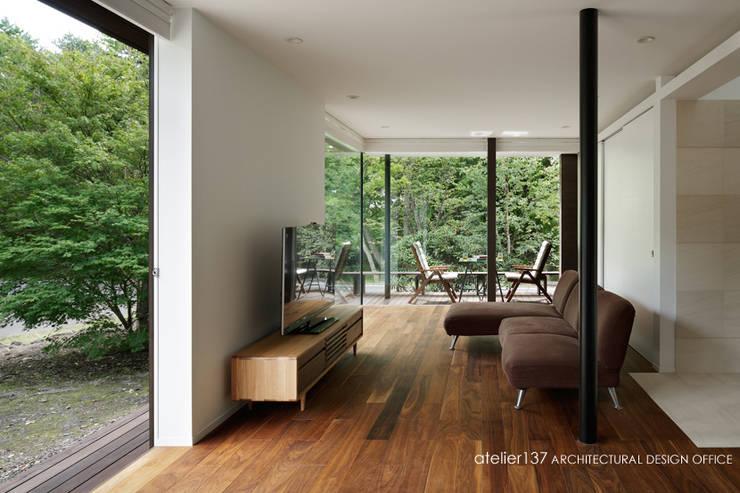 024軽井沢Hさんの家: atelier137 ARCHITECTURAL DESIGN OFFICEが手掛けたリビングです。