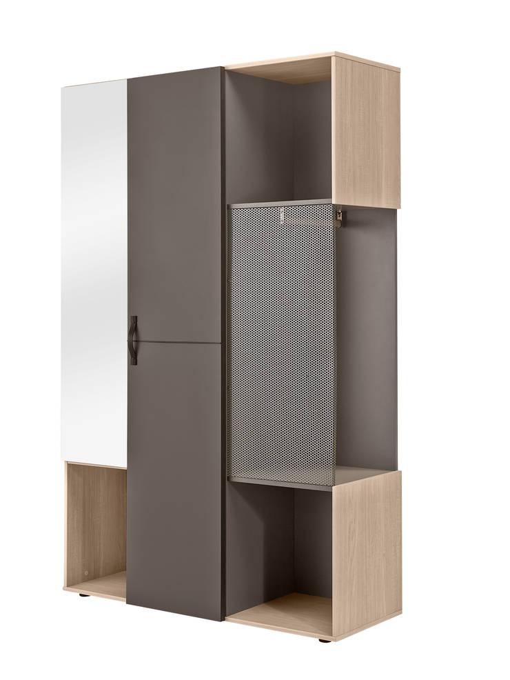 Tweedeurs legkast Armin met spiegel en stoer metalen rooster voor het hanggedeelte:   door JeEigenKamer.nl, Industrieel