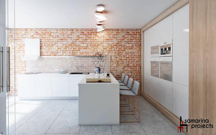 """Дизайн квартиры """"Сочные акценты"""": Кухни в . Автор – Samarina projects"""