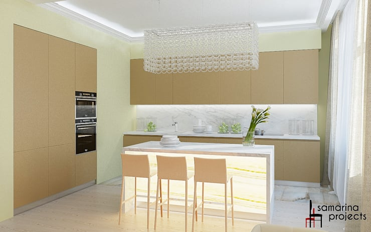 "Дизайн квартиры ""Гармония цвета"": Кухни в . Автор – Samarina projects, Минимализм"