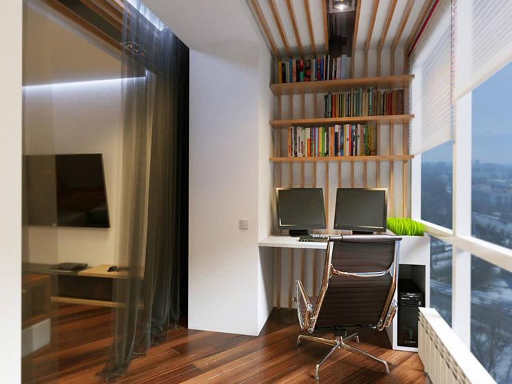 1 комнатная квартира студия для молодого человека: Рабочие кабинеты в . Автор – D+ | интерьерное бюро