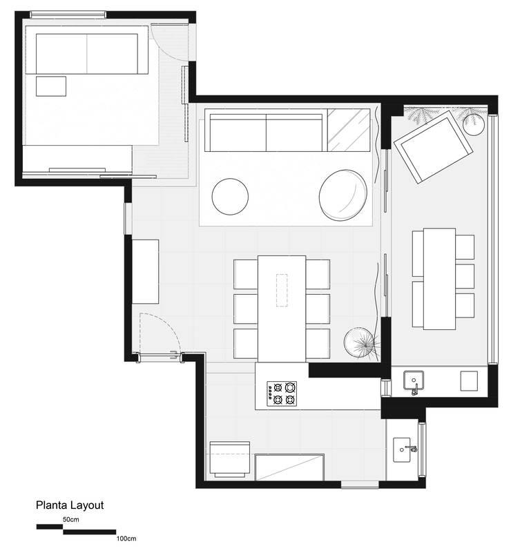 Planta Layout:   por Haruf Arquitetura + Design