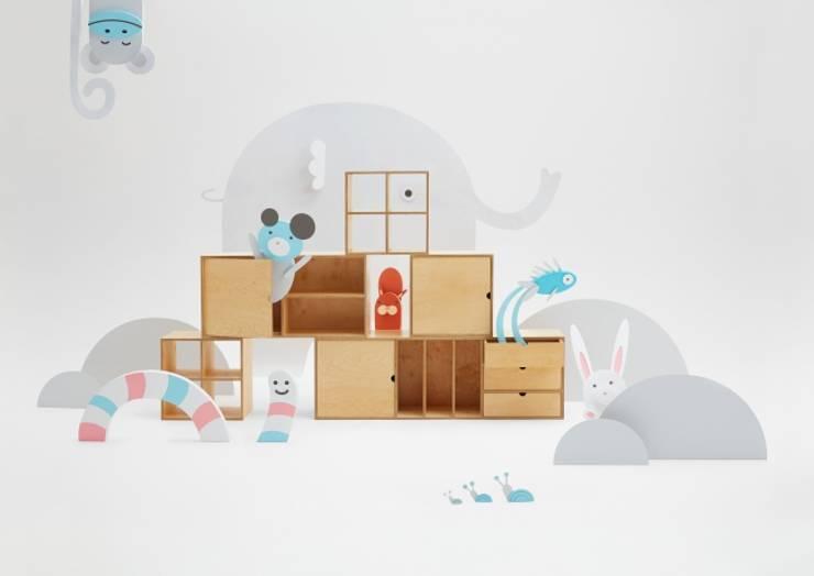 Kubiki-półki ze sklejki: styl , w kategorii Pokój dziecięcy zaprojektowany przez Rzeczy Same