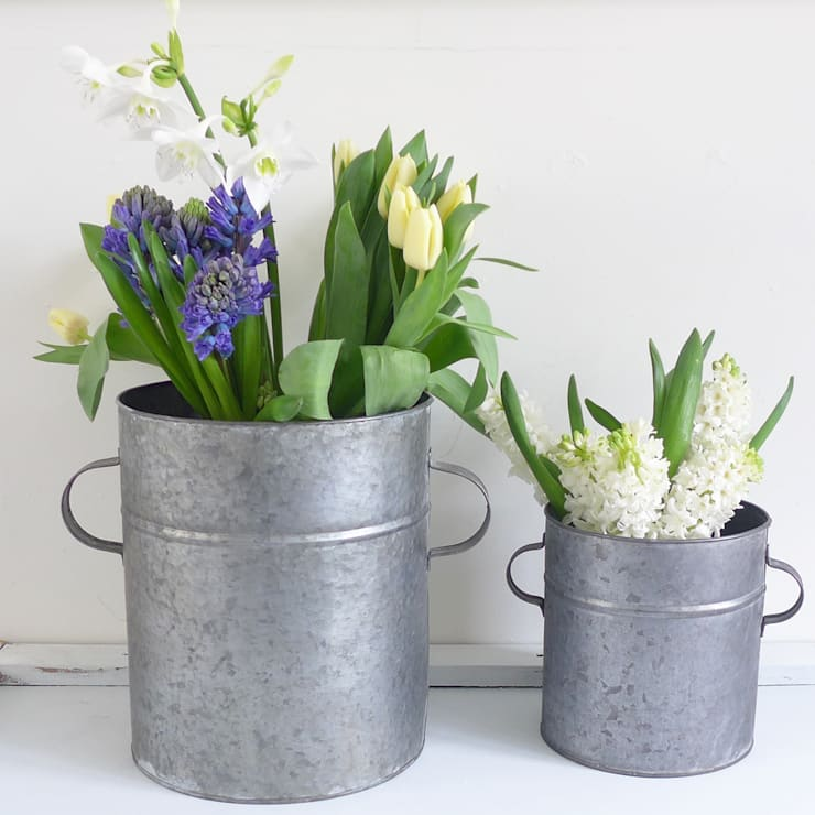 Two Zinc Tub Planters With Handles:  Garden  by Lilac Coast