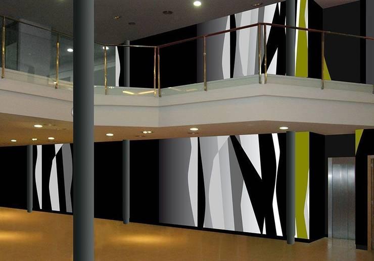 Franjas en grises y pistacho: Hoteles de estilo  de Murales Divinos, Escandinavo