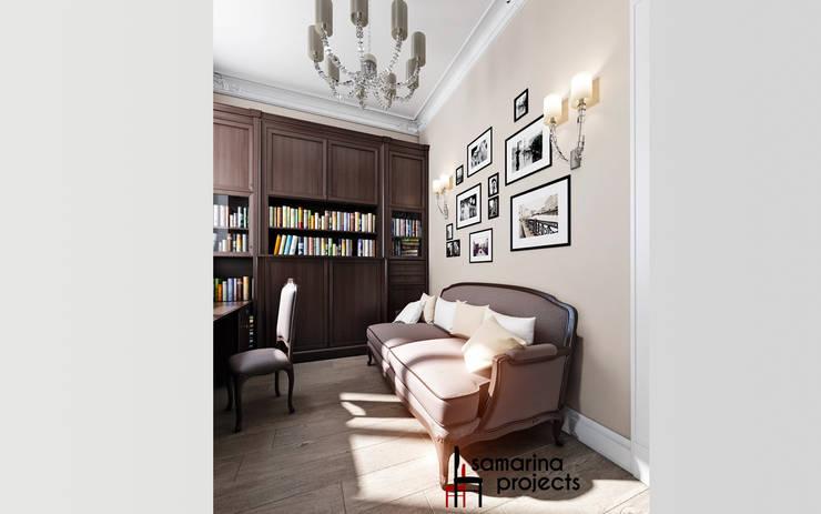 """Дизайн загородного дома """"Кабинет в английском стиле"""": Рабочие кабинеты в . Автор – Samarina projects"""