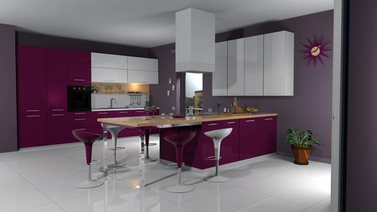 Render fotorealistici: Cucina in stile in stile Mediterraneo di Studio Tecnico Savignano
