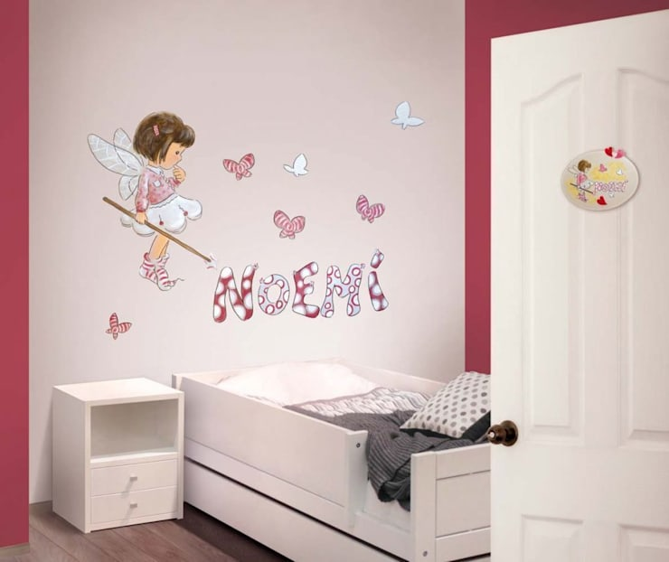 Hadita con mariposas Dormitorios infantiles de estilo moderno de Murales Divinos Moderno
