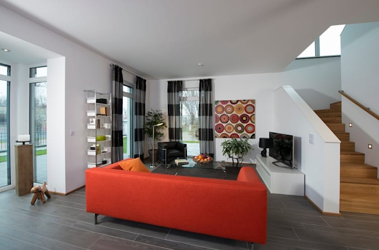 Projekty,  Salon zaprojektowane przez Heinz von Heiden GmbH Massivhäuser