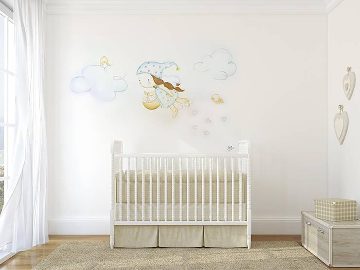 Hadita repartiendo corazones Dormitorios infantiles de estilo moderno de Murales Divinos Moderno