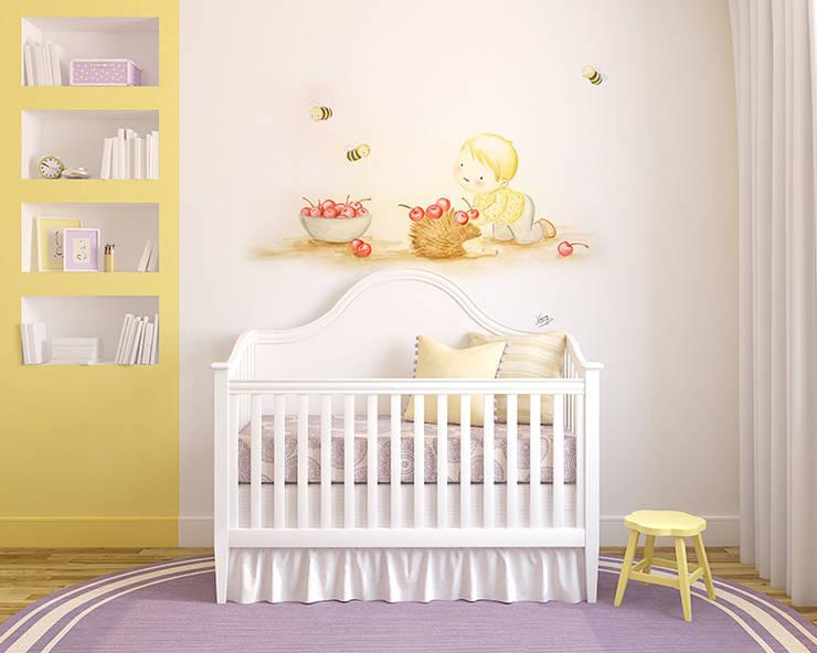 Bebé con erizo Dormitorios infantiles de estilo moderno de Murales Divinos Moderno