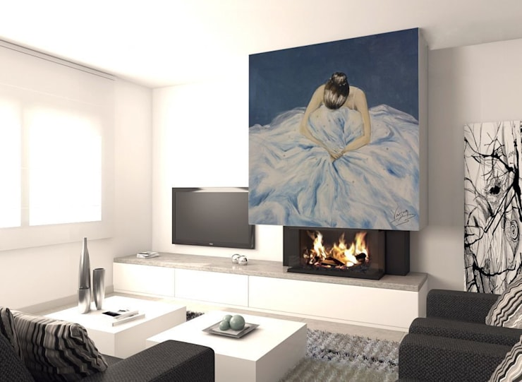 Bailarina en azul Salones de estilo moderno de Murales Divinos Moderno