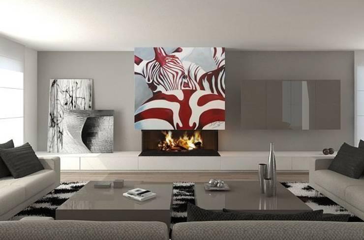 Zebra roja Salones de estilo moderno de Murales Divinos Moderno