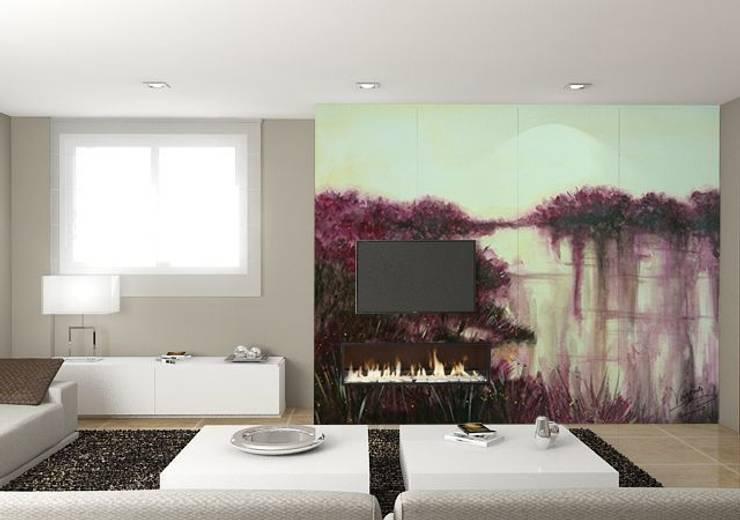 Paisaje en morados Salones de estilo moderno de Murales Divinos Moderno