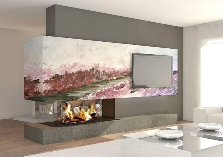 Camino en morados Salones de estilo moderno de Murales Divinos Moderno