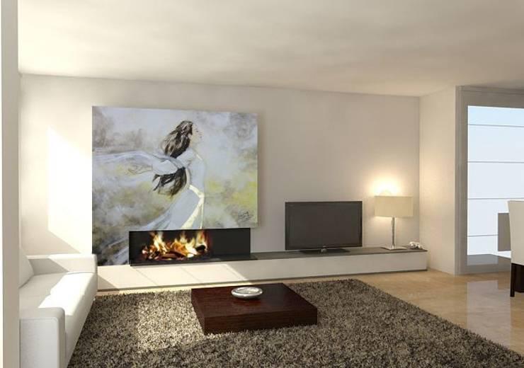 Mujer al aire con pan de oro Salones de estilo moderno de Murales Divinos Moderno