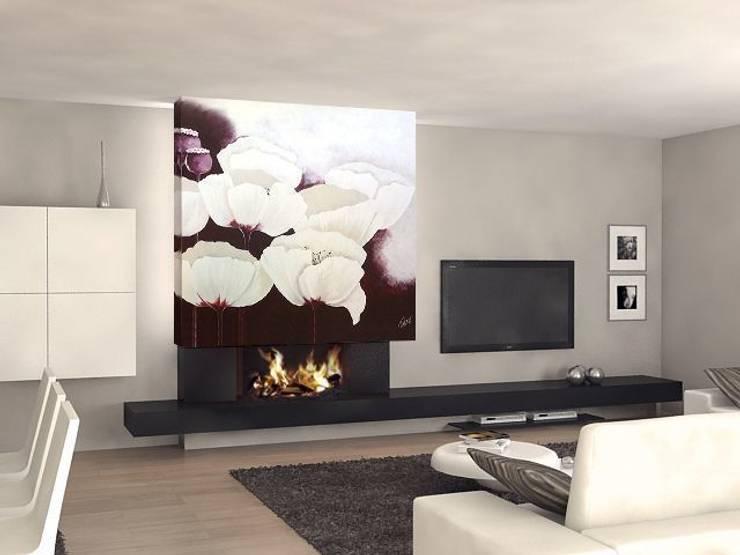 Flores en blanco y berenjena Salones de estilo moderno de Murales Divinos Moderno
