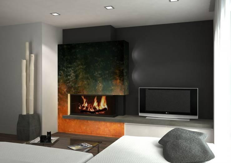 Degradado de fuego Salones de estilo moderno de Murales Divinos Moderno