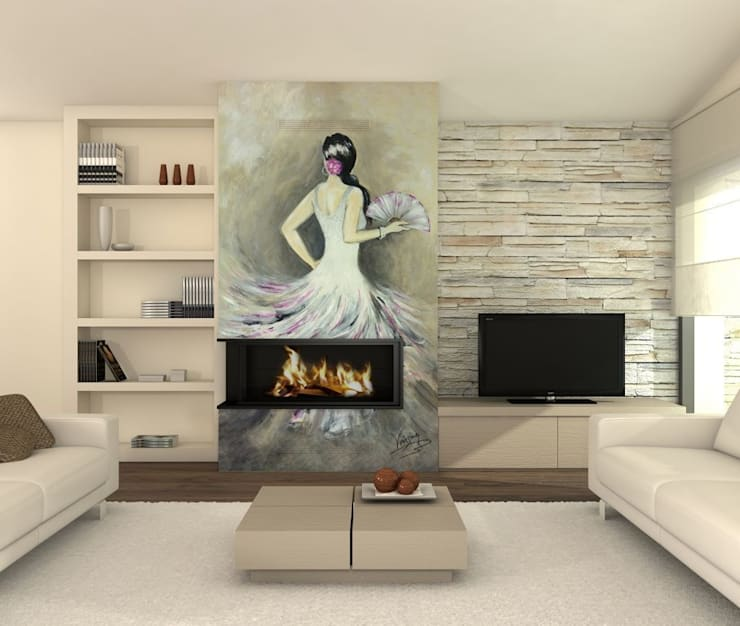 Flamenca Salones de estilo moderno de Murales Divinos Moderno