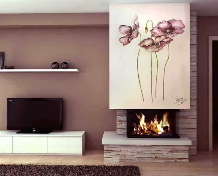 Flores violetas Salones rústicos de estilo rústico de Murales Divinos Rústico