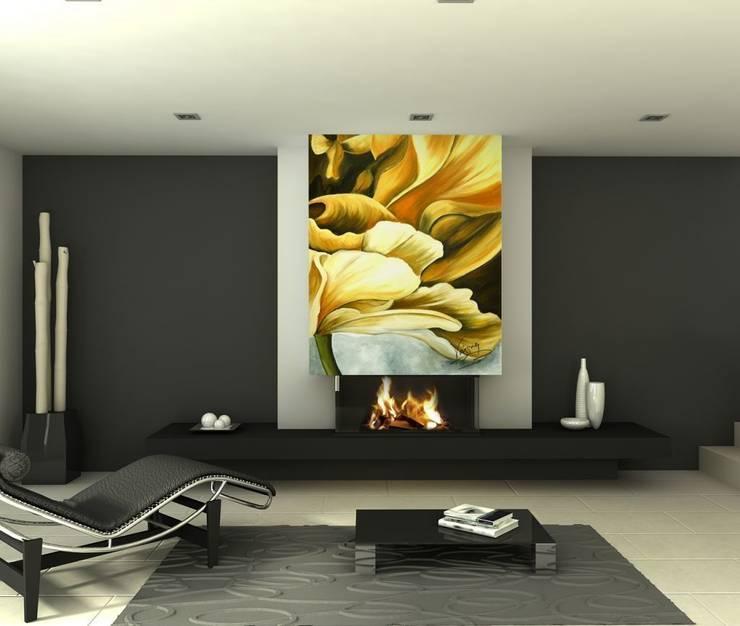 Flor amarilla Salones de estilo moderno de Murales Divinos Moderno