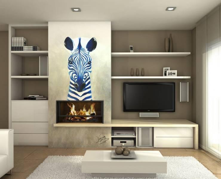 Zebra azul: Salones de estilo  de Murales Divinos