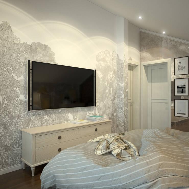 Вид на стену с телевизором и обоями Rebel Walls: Спальни в . Автор – Rebel Walls Russia