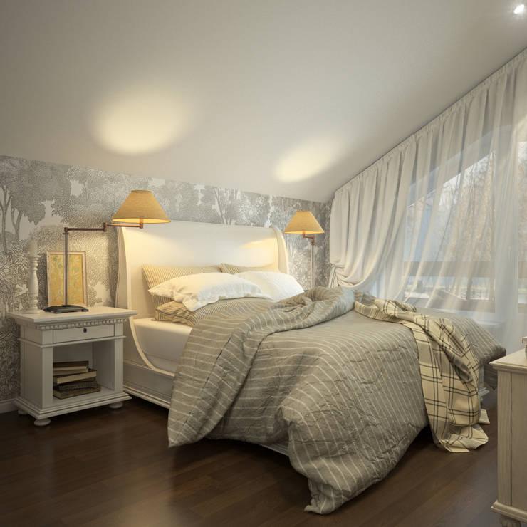 Вид на кровать и стену с обоями Rebel Walls: Спальни в . Автор – Rebel Walls Russia
